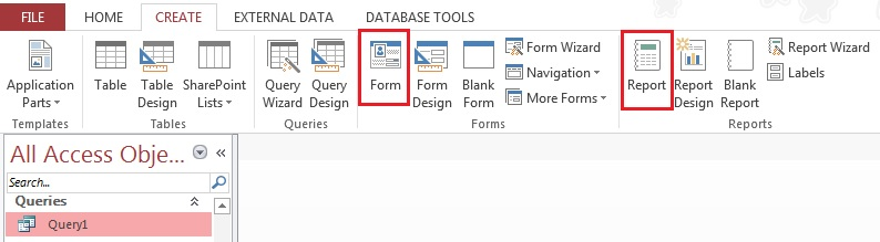 Access convert Table Query Report Form to Report Form