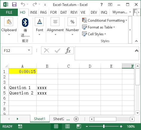 Excel timer countdown for test using Application OnTime