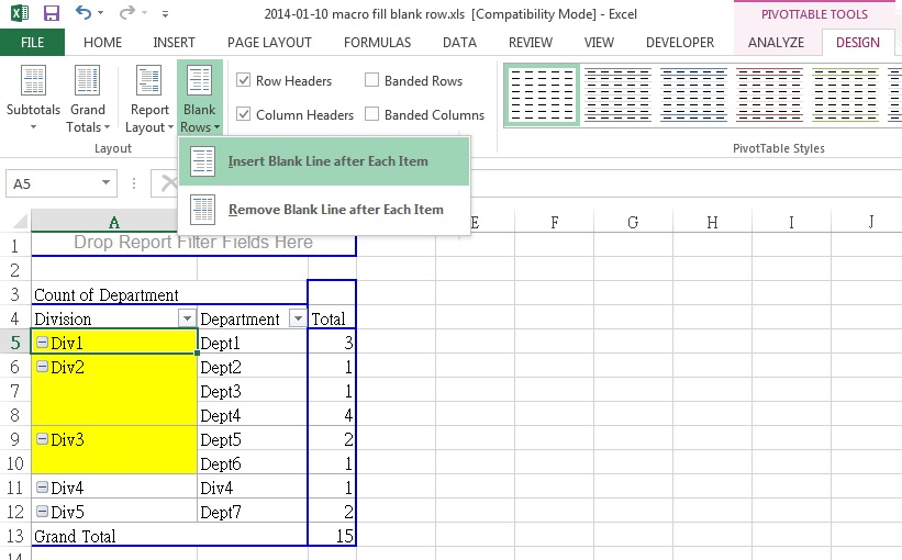 excel fill blank rows or blank cells in inactive pivot table