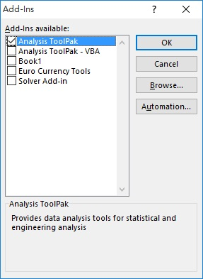 Excel Analysis Tookpak 04