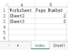 sheet index in excel