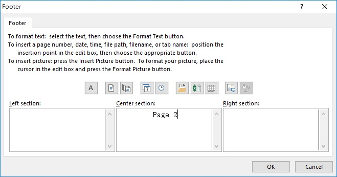 Excel add page number in footer 04