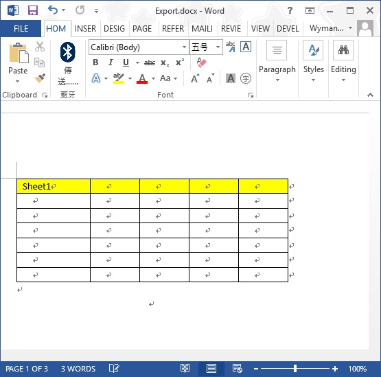 export Excel to Word 05