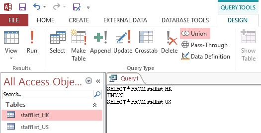 Use UNION and UNION ALL in Access Query 03