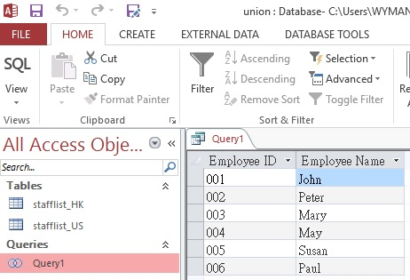 Use UNION and UNION ALL in Access Query 04