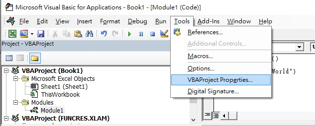 Protect VBA code with password 02