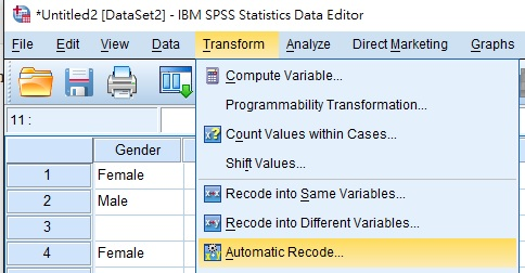 SPSS Automatic Recode 02