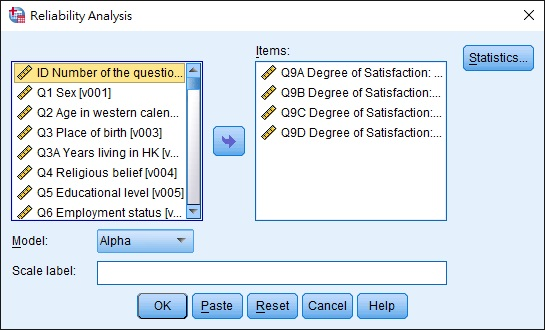 SPSS test reliability using Cronbach's Alpha 02