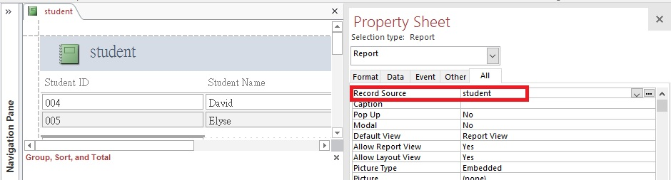 access-vba-change-report-record-source-01