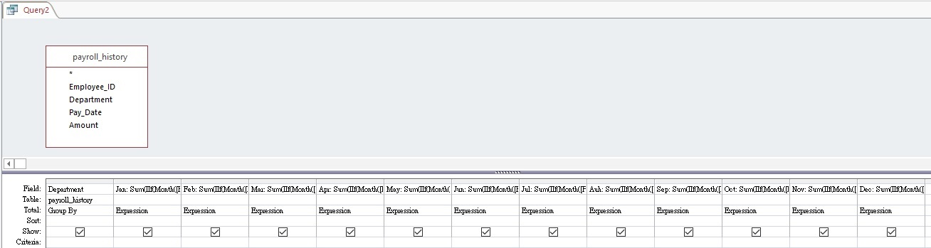 Access replace Crosstab Query with Expression
