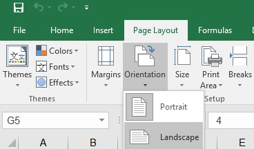 how to set the page orientation to narrow in excel