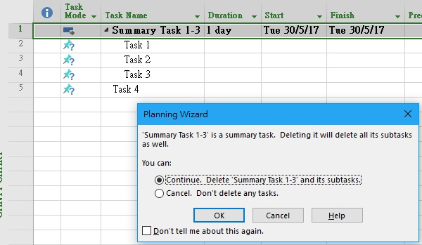MS Project delete Summary Task without deleting subtasks