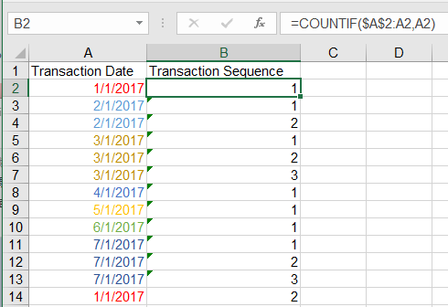 Excel assign sequence number to duplicate records