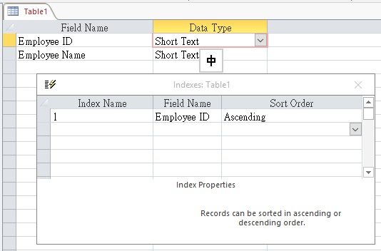 Add sorting in Access Table field